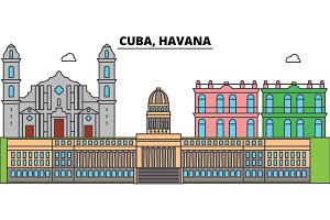Cuba, Havana outline city skyline, linear illustration, banner, travel landmark, buildings silhouette,vector