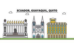 Ecuador, Guayaquil, Quito outline city skyline, linear illustration, banner, travel landmark, buildings silhouette,vector