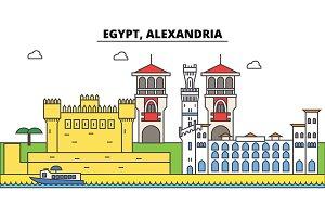 Egypt, Alexandria outline city skyline, linear illustration, banner, travel landmark, buildings silhouette,vector