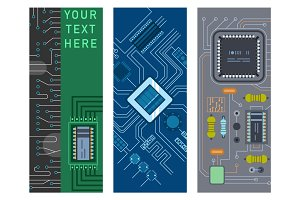 Computer IC chip template microchip brochure circuit board design abstract background vector illustration.