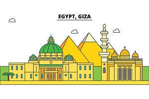 Egypt, Giza outline city skyline, linear illustration, banner, travel landmark, buildings silhouette,vector
