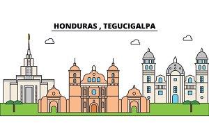 Honduras , Tegucigalpa outline city skyline, linear illustration, banner, travel landmark, buildings silhouette,vector