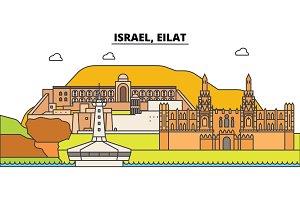 Israel, Eilat outline city skyline, linear illustration, banner, travel landmark, buildings silhouette,vector