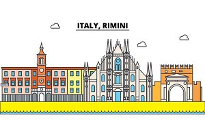 Italy, Rimini outline city skyline, linear illustration, banner, travel landmark, buildings silhouette,vector