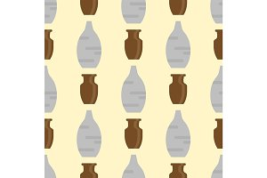 Seamless pattern with antique vases background decorative pot design classic pottery container vector illustration.