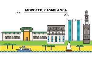 Morocco, Casablanca outline city skyline, linear illustration, banner, travel landmark, buildings silhouette,vector