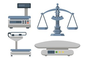 Weight measurement instrumentation balance tools equipment vector illustration