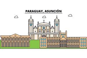 Paraguay, Asuncion outline city skyline, linear illustration, banner, travel landmark, buildings silhouette,vector