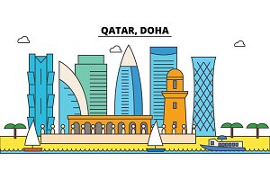 Qatar, Doha outline city skyline, linear illustration, banner, travel landmark, buildings silhouette,vector