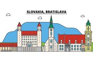 Slovakia, Bratislava outline city skyline, linear illustration, banner, travel landmark, buildings silhouette,vector
