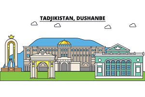 Tadjikistan, Dushanbe outline city skyline, linear illustration, banner, travel landmark, buildings silhouette,vector