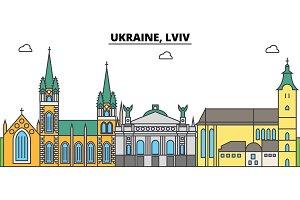 Ukraine, Lviv outline city skyline, linear illustration, banner, travel landmark, buildings silhouette,vector
