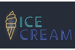 Light neon ice cream labels vector illustration font decorative symbols night bright text objects.