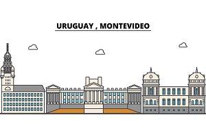 Uruguay , Montevideo outline city skyline, linear illustration, banner, travel landmark, buildings silhouette,vector