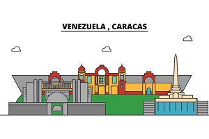 Venezuela , Caracas outline city skyline, linear illustration, banner, travel landmark, buildings silhouette,vector