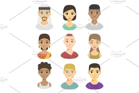 Cool Avatars Different Nations People Portraits Ethnicity Different Skin Tones Ethnic Affiliation And Hair Styles Vector Illustration