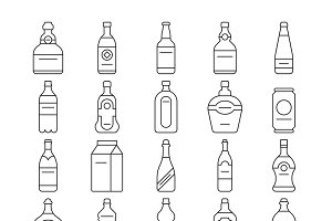 Alcohol drink bottles icons set