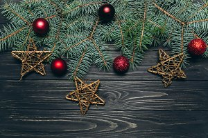 Christmas dark wooden background