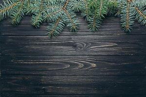 Christmas dark wooden background