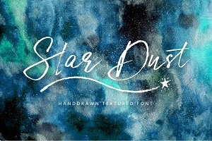 Star Dust Font & watercolor textures