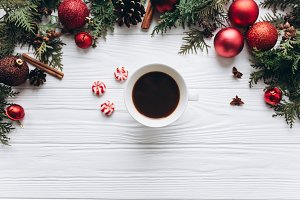 Christmas decorations with coffee