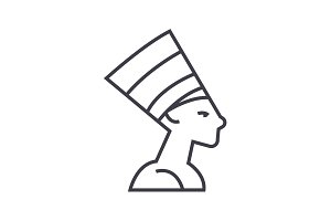 nefertity,egypt vector line icon, sign, illustration on background, editable strokes
