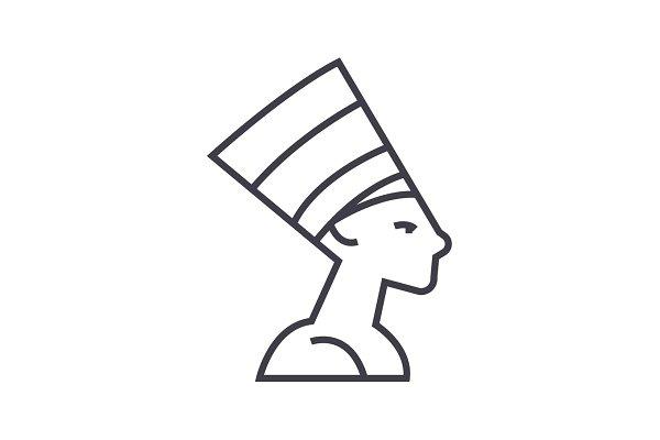 nefertity,egypt vector line icon, s…