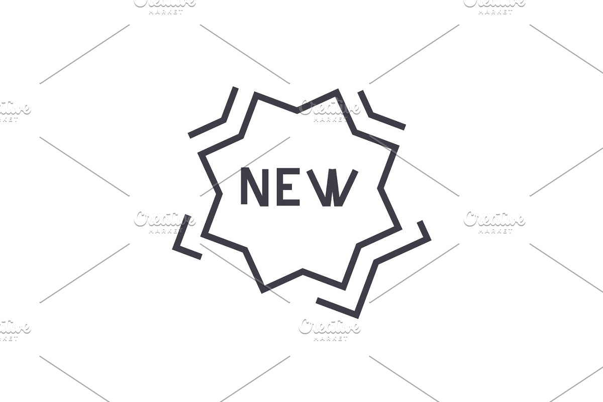 new sticker vector line icon, sign, illustration on background, editable strokes