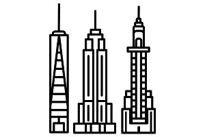 new york skyline vector line icon, sign, illustration on background, editable strokes