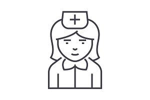 nurse sign vector line icon, sign, illustration on background, editable strokes