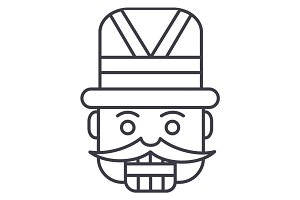 nutcracker,toy soldier vector line icon, sign, illustration on background, editable strokes