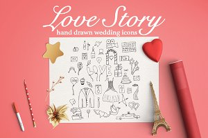 Love Story icon set