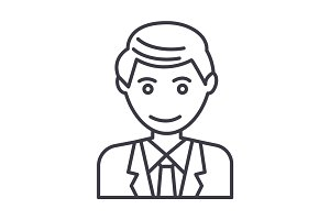 office man, businessman vector line icon, sign, illustration on background, editable strokes