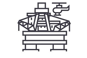 oil platform, rig vector line icon, sign, illustration on background, editable strokes