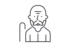 old man vector line icon, sign, illustration on background, editable strokes