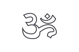 om,india,meditation vector line icon, sign, illustration on background, editable strokes