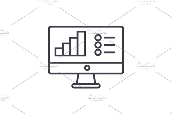 Online Data Analysis Report Vector Line Icon Sign Illustration On Background Editable Strokes