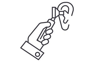 otoscope ear,ent,otolaryngologist,doctor vector line icon, sign, illustration on background, editable strokes