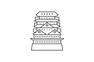 pagoda,asian temple vector line icon, sign, illustration on background, editable strokes