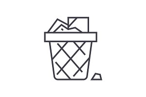 paper bin,office garbage vector line icon, sign, illustration on background, editable strokes