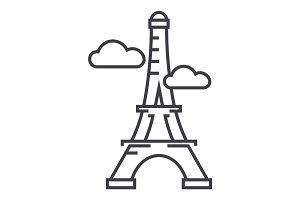 paris,eiffel tower vector line icon, sign, illustration on background, editable strokes