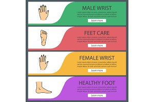 Body parts web banner templates set