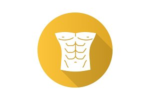 Muscular male torso flat design long shadow glyph icon