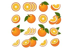 Fresh orange fruits emblems