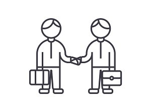 partnership handshake,working together vector line icon, sign, illustration on background, editable strokes