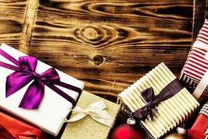 Shiny presents with ribbons for Christmas