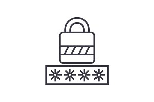 password,login lock vector line icon, sign, illustration on background, editable strokes