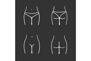 Female body parts chalk icons set