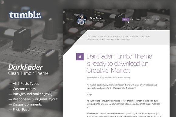 darkfader clean tumblr blog theme tumblr themes creative market