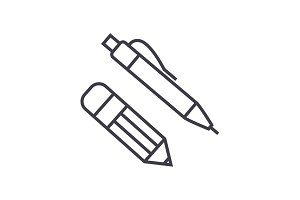 pen and pencil vector line icon, sign, illustration on background, editable strokes